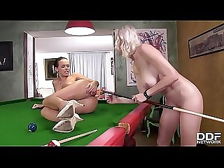 Billiard Babes Misha & Linet Insert Cue Sticks Up Each Other's Assholes